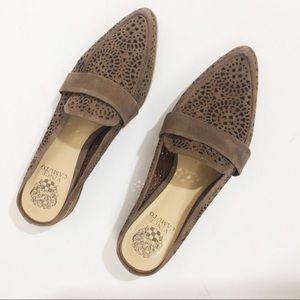 Vince Camuto Brown Suede Slip-Ons with Lace Detail